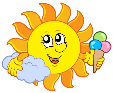 heat: Sun with icecream - vector illustration.