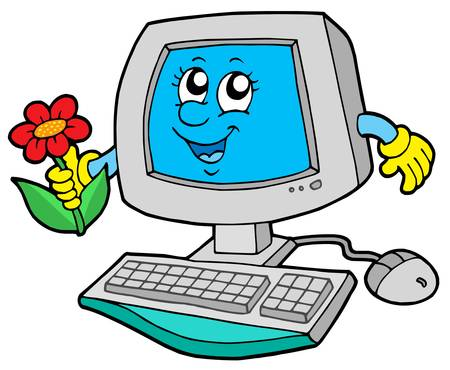 Cute computer with flower - vector illustration.