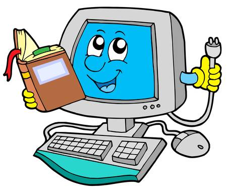 electronic guide: IT computer with book - vector illustration.