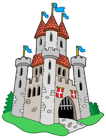 castello fiabesco: Castello Medioevale - illustrazione vettoriale.