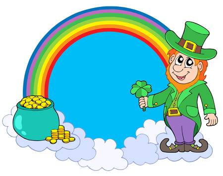 lucky man: Rainbow circle with leprechaun - vector illustration. Illustration