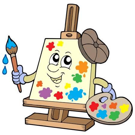 Cartoon canvas artist - vector illustration