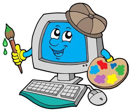 artist painting: Cartoon computer artist - vector illustration Illustration