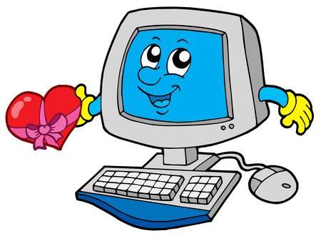 office romance: Cartoon computer with heart - vector illustration. Illustration