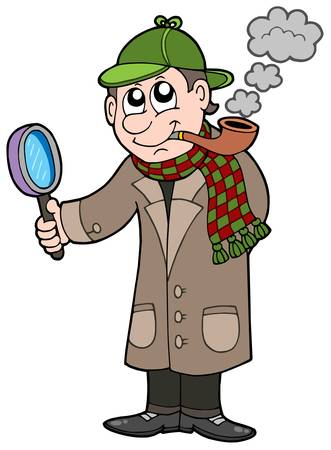 tobacco pipe: Cartoon detective - vector illustration.