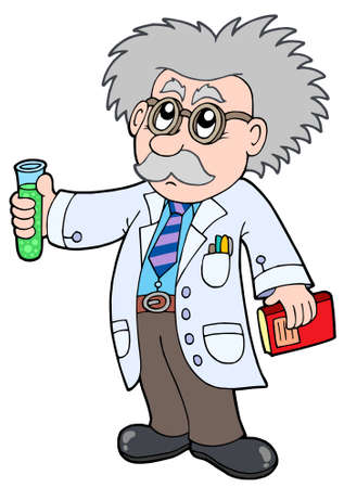 Cartoon scientist - vector illustration.