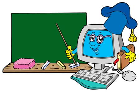 Computer teacher with blackboard - vector illustration.