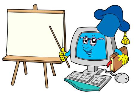 computer education: Computer teacher with table - vector illustration.
