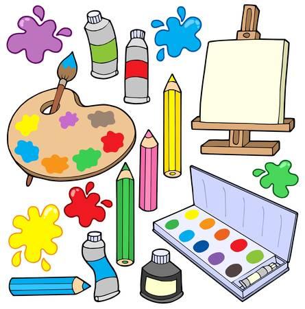 art and craft equipment: Bellas Artes de recogida 1 - ilustraci�n vectorial.