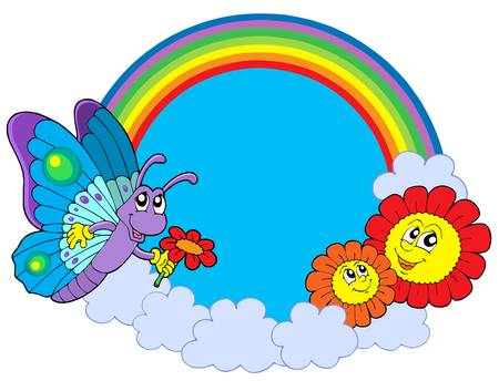 Rainbow circle with butterfly and flowers - vector illustration.