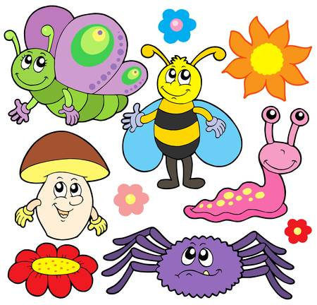 zomertuin: Kleine dieren collectie 6 - vector illustration.