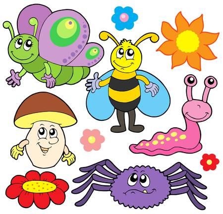bee garden: Recogida de animales peque�os 6 - ilustraci�n vectorial.