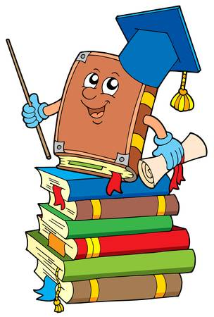master volume: Book teacher on pile of books - vector illustration. Illustration