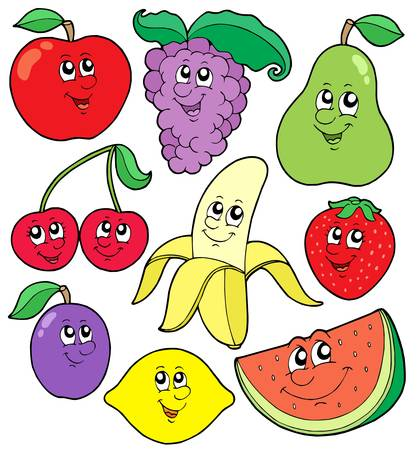 Cartoon fruits collection 1 - vector illustration. 일러스트