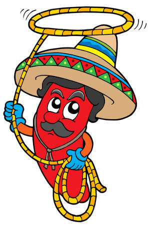 mexican cartoon: Cartoon Mexican chilli with lasso - vector illustration.