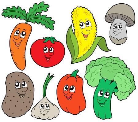 vegetable cartoon: Colecci�n de dibujos vegetales 1 - ilustraci�n vectorial.