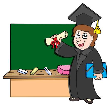 Graduate student with blackboard - vector illustration. Vector