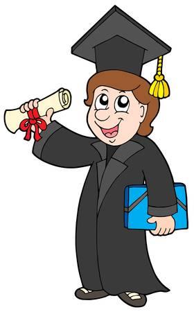 pass: Happy graduate student - vector illustration. Illustration