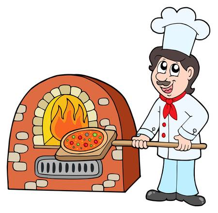 pizza oven: Chef baking pizza - vector illustration.