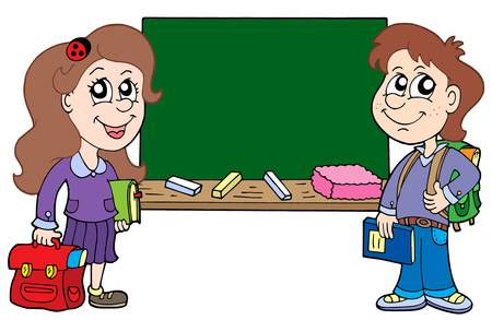 Two pupils with blackboard - vector illustration.
