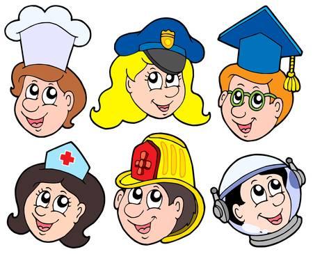 enfermera con cofia: Varios ocupaci�n de recogida 1 - ilustraci�n vectorial.