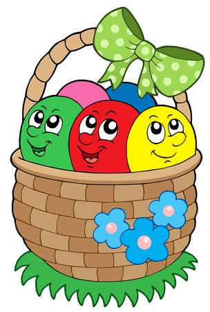gift basket: Basket with Easter eggs - vector illustration.
