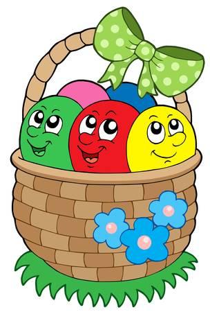 gift basket: Basket with Easter eggs - vector illustration.