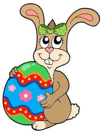 Bunny holding big Easter egg - vector illustration. Vector