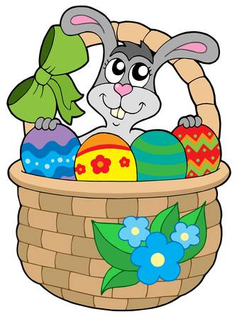 Easter bunny in basket - vector illustration. Stock Vector - 4215710