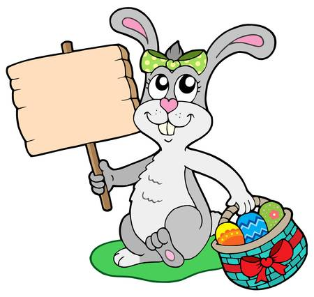 Easter bunny with wooden sign - vector illustration. Stock Vector - 4215715