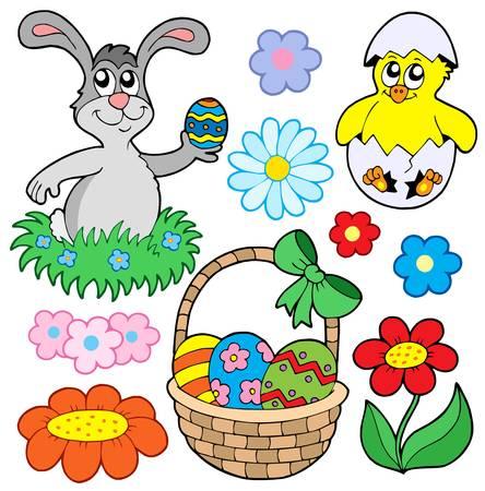 giftbasket: Pasen collectie 01 - vector illustration. Stock Illustratie