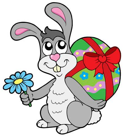 Small Easter bunny with egg - vector illustration.