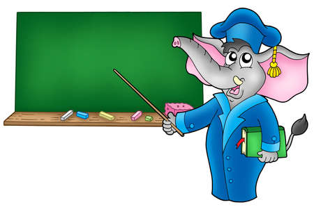 Cartoon elephant teacher with blackboard - color illustration. illustration