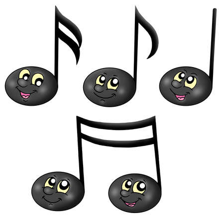 Cute music notes - color illustration.