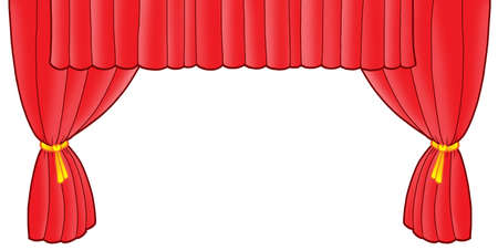 classical theater: Red theatre curtain - color illustration. Stock Photo
