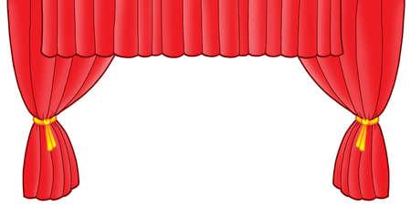 Red theatre curtain - color illustration. Stock Illustration - 4353419