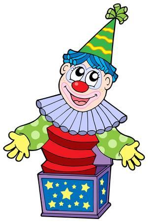 Cartoon clown in box - vector illustration.