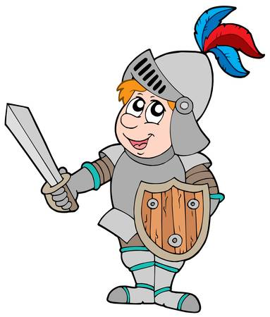 heroism: Cartoon knight on white background - vector illustration. Illustration