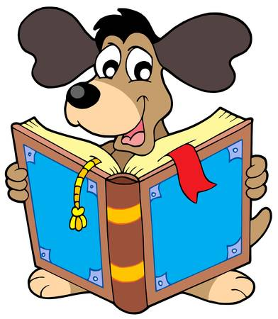 reads: Dog reading book - vector illustration.
