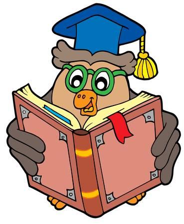 tell: Owl teacher reading book - vector illustration.
