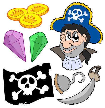 metal drawing: Pirate collection 5 on white background - vector illustration.
