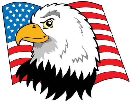 American eagles head with flag - vector illustration.