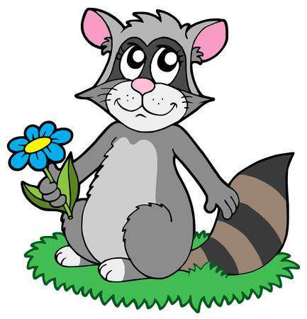 Cartoon racoon with flower - vector illustration.