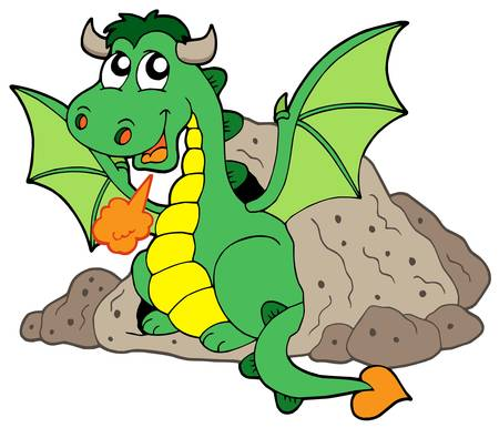 Cute dragon in cave - vector illustration. Vector