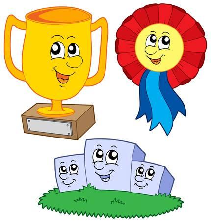 Cartoon trophies collection - vector illustration. Illustration