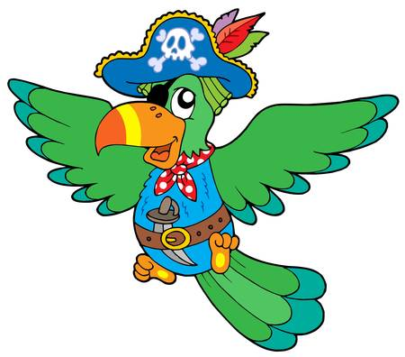 hat with feather: Flying pirate parrot - vector illustration.