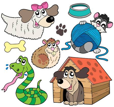 Pet collection 2 on white background - vector illustration.