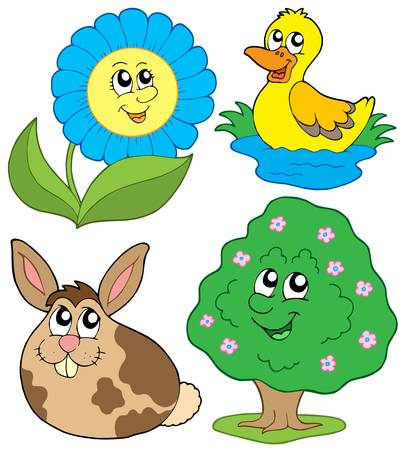Spring collection 2 on white background - vector illustration.  Vector