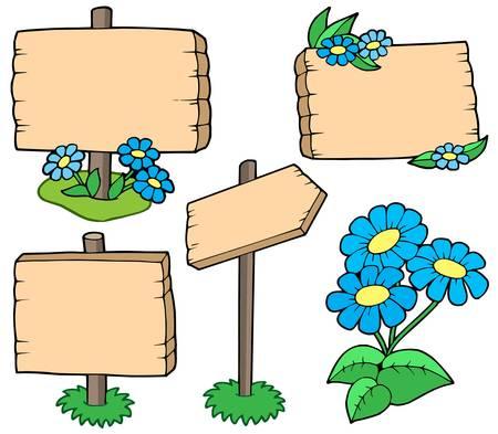 written text: Wooden tables with flowers collection - vector illustration. Illustration