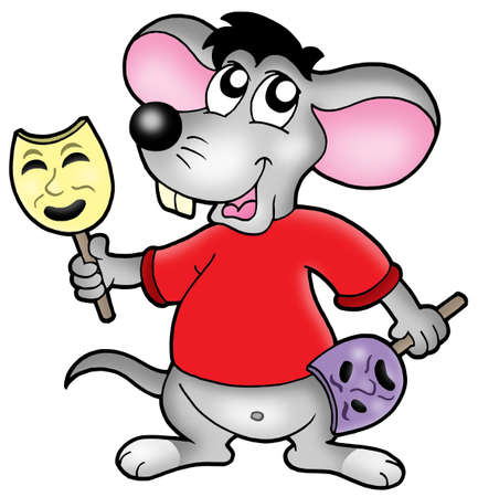 Cartoon mouse actor - color illustration. Stock Illustration - 4422349